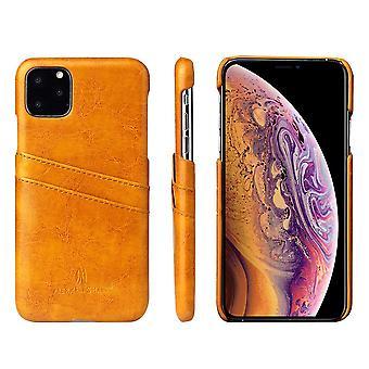 For iPhone 11 case deluxe skinn lommebok tilbake shell slank beskyttende deksel gul