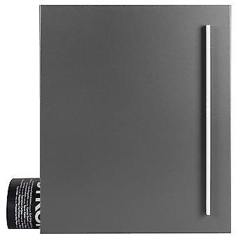 Design mailbox with newspaper box grey aluminium (RAL 9007) MOCAVI box 110 wall letter box 12 litres