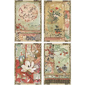 Stamperia Reis Papier Blatt A4-japanische Postkarten