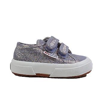 Superga Lame Strap Junior Sparkly Violet Canvas Girls Rip Tape Chaussures