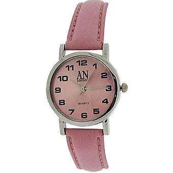 AN London Ladies Pink Dial Silver Tone Case Pink PU Strap Watch 8731S/09