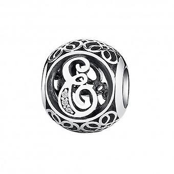 Zilveren Bedel Letter E Met Zirkonia Steentjes - 5180