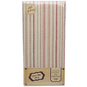 Love My Sleep Unisex Striped Fitted Flannelette Sheet
