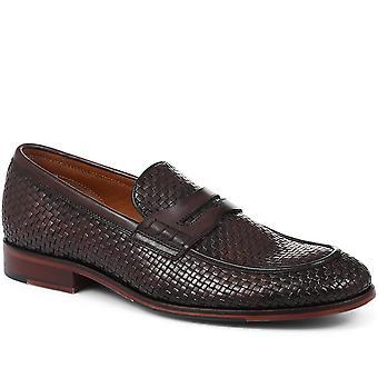 Jones Bootmaker Mens Adrian Woven Leather Penny Loafer