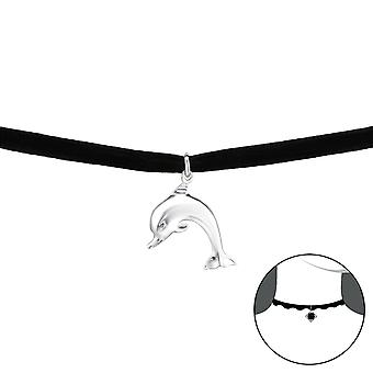 Dolphin - 925 Sterling Silver + Velvet Chokers - W33985x