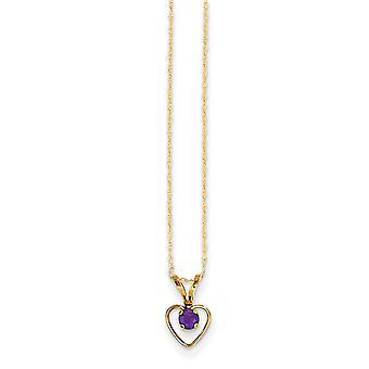 14k Geel Goud Gepolijst Spring Ring 3mm Amethist Love Heart voor jongens of meisjes Hanger Ketting 15 Inch Maatregelen 10x6mm