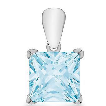 KJ Beckett Princess Cut Cubic Zirconia Pendant - Silver-och/eller ljusblå