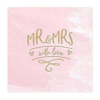 'Mr and Mrs with Love' Pink Paper Wedding Napkins x 20