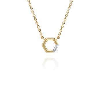 الماس مهد قلادة سداسية في 9ct الذهب الأصفر 191N0226029
