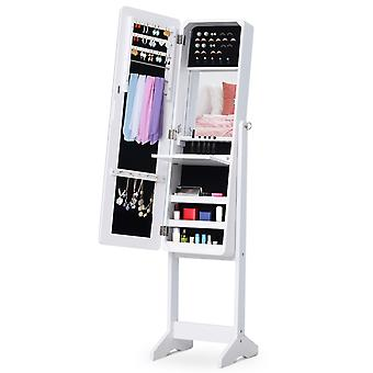 HOMCOM LED Mirrored Jewelry Cabinet Armoire Jewelry Storage Organizer w/ Stand For Necklaces Bracelets Rings Earrings Angle Adjustable White