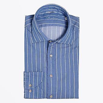 Stenstroms  - Embroidered Stripe Shirt - Blue
