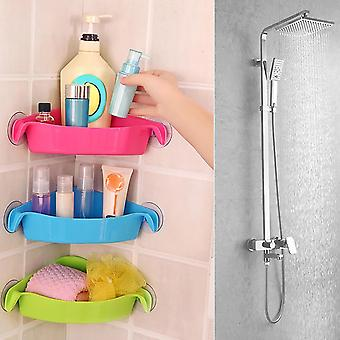 Home Bathroom Corner Shelf Suction Rack Organizer - Shower Wall Cup Storage Basket