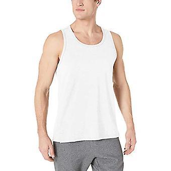 Essentials Men's Performance Cotton Tank Top Shirt, Branco, Grande