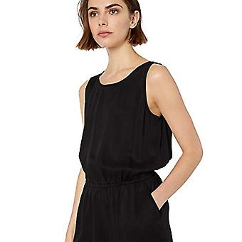Marca - Daily Ritual Women's Tencel Sleeveless V-Back Romper, Negro, 6