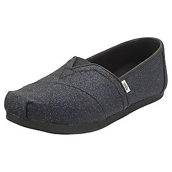 Toms Alpargata Sparkle Glitter Womens Espadrille Shoes in Midnight Navy