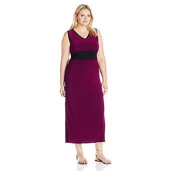 Yıldız Vixen Kadın 's Büyük Beden Kolsuz Siyah İç Bel ve V Yaka Özetlenmiş Ity Maxi Elbise, Mor, 1X