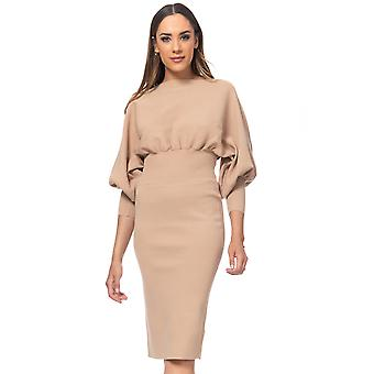 Knit midi dress with bishop sleeves and elastic waist