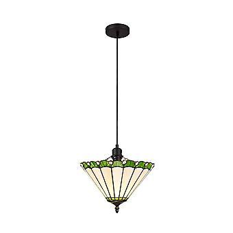 Luminosa Lighting - 1 Light Uplighter Sufit Wisiorek E27 z 30cm Tiffany Cień, Zielony, Kryształ, Czarny