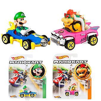 2-Pack Hot Wheels Mario Kart Racers Luigi + Bowser 1:64 Bilar Metall