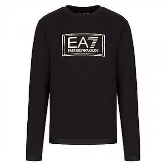 EA7 Emporio Armani Black Crew Neck Gold Logo Sweatshirt 6HPM73 PJF3Z