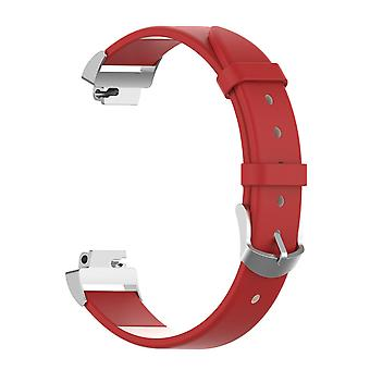 Pour Fitbit Inspire / 2 / HR / Ace 2 Band Genuine Leather Replacement Wristband Strap[Red]