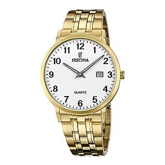Festina F20513-1 Men's White Dial Gold Tone Bracelet Wristwatch