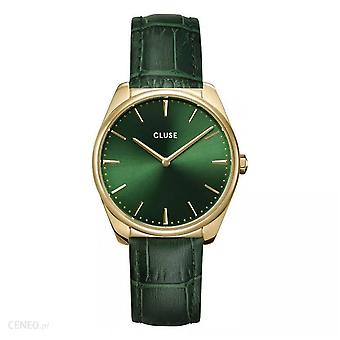 Cluse Cw0101212006 La Féroce Gold & Green Textured Leather Ladies Watch
