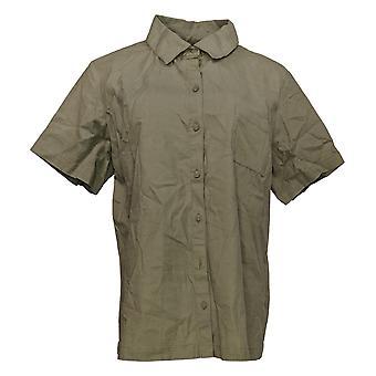 Denim & Co. Women's Top Short-Sleeve Camp Shirt Chest Pocket Green A353999