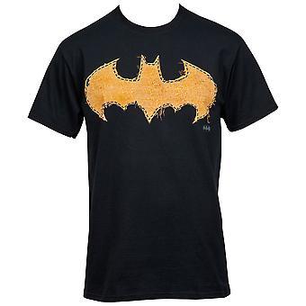 バットマン ほつれたイエローステッチ ロゴ T シャツ