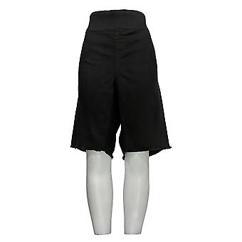DG2 di Diane Gilman Women's Petite Shorts Black Jean Fringe Cotton 724-452