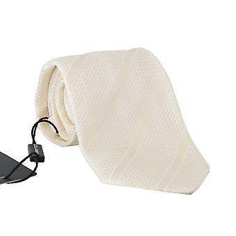 Cravată clasică din mătase albă de fildeș