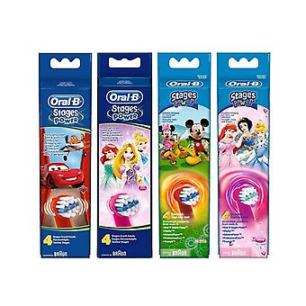 Oral-B Stages Power Kids Toothbrush Replacement, 4 recharges (assortiment)
