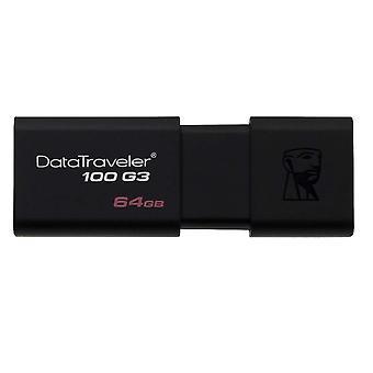 Kingston dt100g3/64gb datatraveler 100 g3 usb 3.0, 3.1 unidade flash, 64 gb, pacote preto de 1
