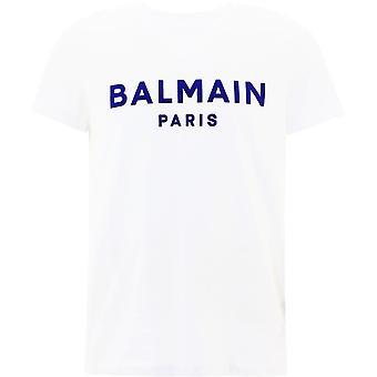 Balmain Vh1ef000b073gcm Mænd's Hvid Bomuld T-shirt