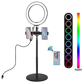 PULUZ 140cm Runde Basis Desktop Mount + Live Broadcast Dual Phone Halterung + 10,2 Zoll 26cm RGBW LED Ring Vlogging Video Light Kits mit Fernbedienung