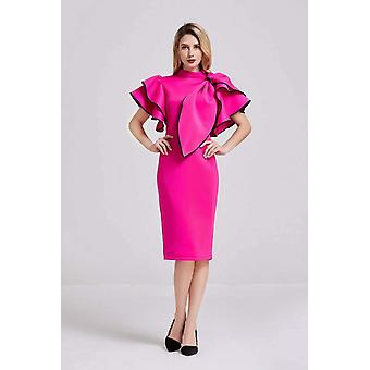 Neon pink bow detail midi dress