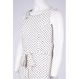 Gabby Skye Polka Dot Print ärmellose Juwel Ausschnitt Gürtel Jumpsuit