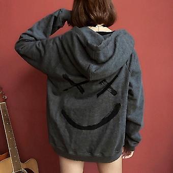 男性スウェットシャツ ハッピー笑顔フェイスプリントヘッドウェアパーカー