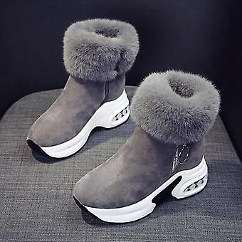 Ankle Warm Plush Winter Leather Snow Boots