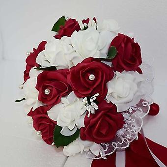 Bouquet nuziale con fiore, rosa pe damigella schiuma fiori rosa
