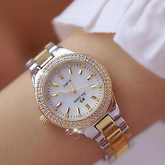 Women Crystal Diamond Watches, Stainless Steel Silver Clock, Montre Femme