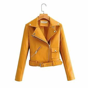 Pu bőr hosszú ujjú őszi téli utcai kabát kabát