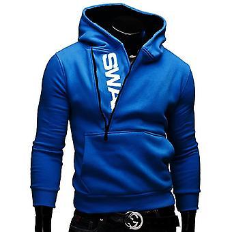 Side Zipper Hoodies, Men Cotton Sweatshirt, Spring Letter Print, Sportswear,