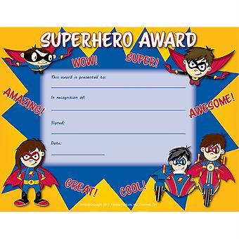"""Superhero Award Certificate, 8.5"""" X 11"""", Pack Of 30"""