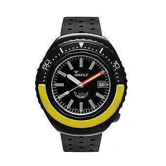 Squale 2002.PVD.BKY.BK.NT 1000 Meter Swiss Automatic Dive Wristwatch Rubber