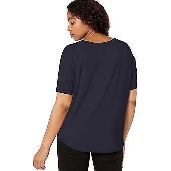 Brand - Daily Ritual Women's Jersey Rib Trim Drop-Shoulder Short-Sleeve Scoop Top, Navy, Small