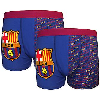 FC Barcelona Official Football Gift 2 Pack Boys Crest Boxer Shorts