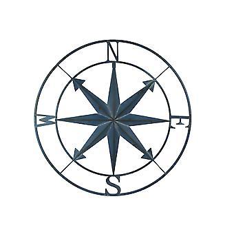 Blå nødlidende Metal Compass Rose Nautiske Væg Decor Indendørs eller udendørs væg decor store væghængende monteret 28 tommer