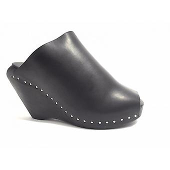 Women's Shoes Wedge Sabot Rick Owens 100% Black Leather