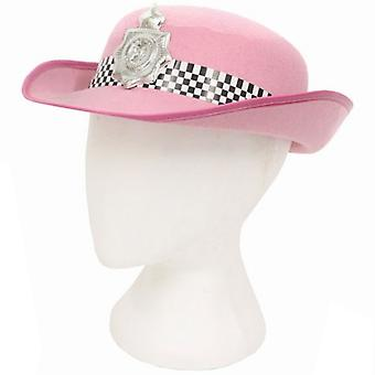 Womans Pink Felt Police Hat